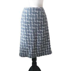 Lafayette 148 Gray Blue & White Plaid Pencil Skirt